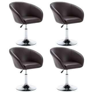 vidaXL Besisuk. valg. kėdės, 4vnt., dirbt. oda, 67,5×58,5x87cm, rudos