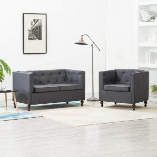 vidaXL Chesterfield sofos kompl., 2d., tams. pilk. sp., aud. apmuš.