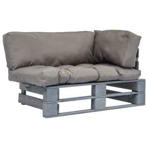 vidaXL Sodo sofa iš palečių su pilk. sp. pagalvėlėmis, FSC pušies med.