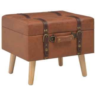 vidaXL Daiktadėžė-taburetė, gelsvai rudos spalvos, 40 cm, dirbtinė oda