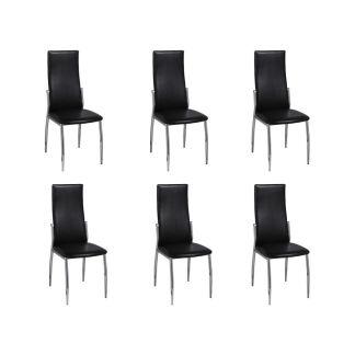 Valgomojo kėdės 6 vnt., chromas ir juoda oda