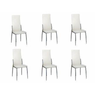 Valgomojo kėdės, 6 vnt., chromas ir balta oda