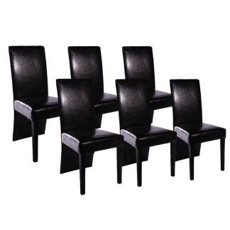 vidaXL Valgomojo kėdės, 6 vnt., dirbtinė oda, juodos