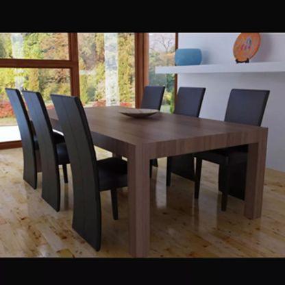 Valgomojo kėdės, 6 vnt., dirbtinė oda, tamsiai rudos