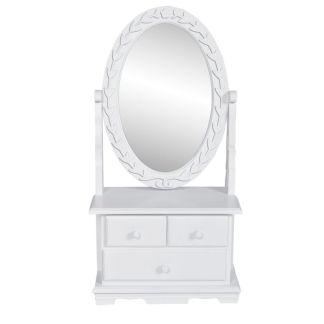 vidaXL Kosmetinis staliukas su ovalios formos besisuk. veidrodžiu, MDF