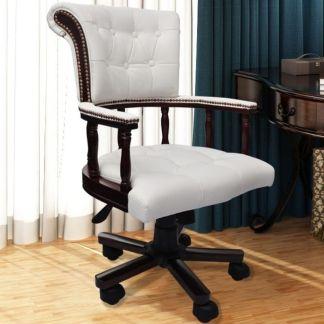 Chesterfield kapitono stiliaus biuro kėdė, pasukama, balta
