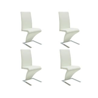 vidaXL Valgomojo kėdės, 4 vnt., dirbtinė oda, baltos