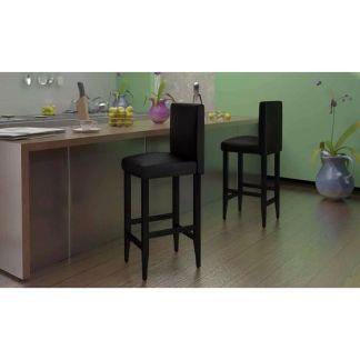 vidaXL Baro kėdės, 6 vnt., dirbtinė oda, juodos