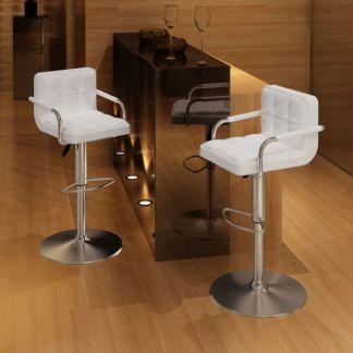 vidaXL Baro kėdės, 2 vnt., baltos su porankiais
