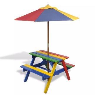 vidaXL vaikų pikniko stalas su suolais ir skėčiu, 4 spalvų