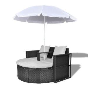 Sodo gultas su skėčiu, juodas, poliratanas