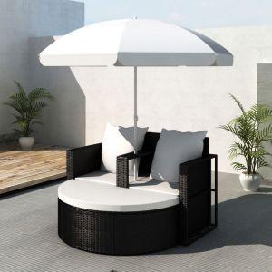 vidaXL Sodo gultas su skėčiu, juodas, poliratanas