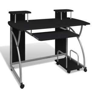 Mobilus Kompiuterio Stalas su Ištraukiamu Padėklu Klaviatūrai, Juodas