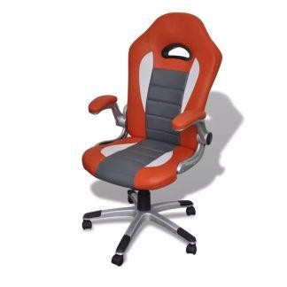 Modernaus Dizaino Dirbtinės Odos Biuro Kėdė, Oranžinė