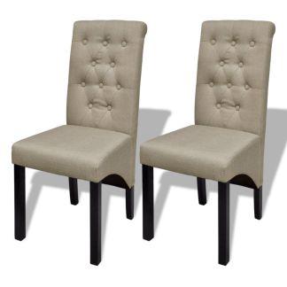 vidaXL Valgomojo kėdės, 2 vnt., audinys, smėlio spalvos