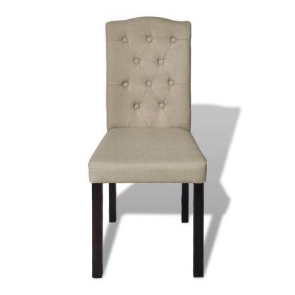 Valgomojo kėdės, 2 vnt., audinys, smėlio spalvos