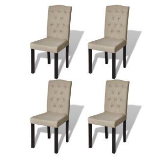 vidaXL Valgomojo kėdės, 4 vnt., smėlio spalvos