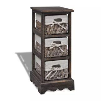 vidaXL Medinė spintelė su 3 pintais krepšiais, ruda