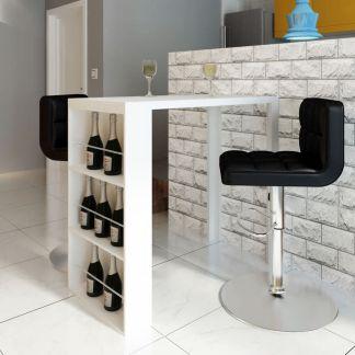 vidaXL Baro stalas, MDF, su vyno stovu, ypač blizgus, baltas