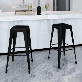 vidaXL Baro kėdės, 2 vnt., kvadratinės, juodos