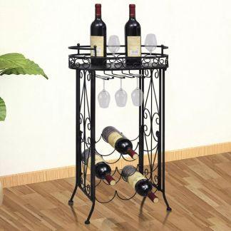 vidaXL Stovas vynui skirtas 9 buteliams, metalinis
