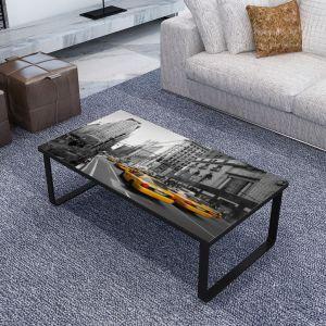 vidaXL Kavos staliukas su stikl. stalviršiu, stačiakampis