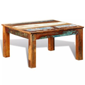 vidaXL Kavos staliukas, kvadratinis, perdirbta mediena
