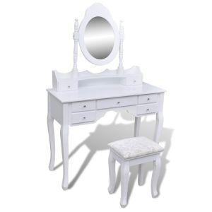 vidaXL Kosmetinis staliukas su veidrodžiu ir kėdute, 7 stalčiai, baltas