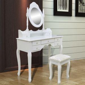 Kosmetinis staliukas su veidrodžiu ir kėdute, 7 stalčiai, baltas