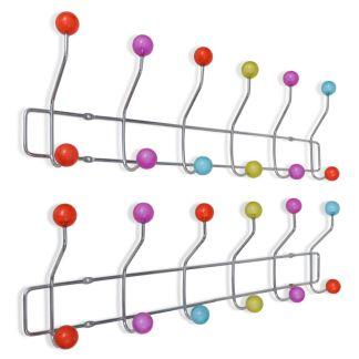 vidaXL Spalvota sieninė kabykla su 12 kabliukų, 2 vnt.