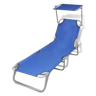 vidaXL Sulankstomas saulės gultas su stogu, plienas ir audinys, mėlyna