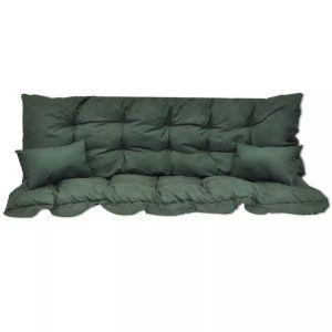 4 dalių pagalvėlių rinkinys supamai kėdei, žalias audinys
