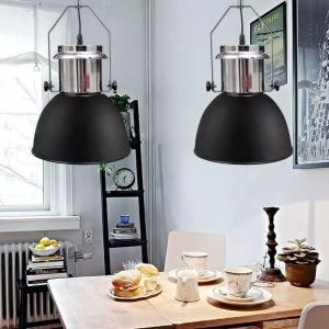 Lub. šviestuvai, 2vnt., metal., regul. aukščio, modern., juod.