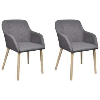 vidaXL Valgomojo kėdės, 2 vnt., šv. pilkas aud. ir ąžuolo med. mas.