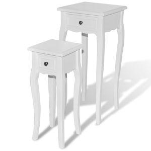 Sudedamų staliukų komplektas, 2d., su stalčiumi, baltas