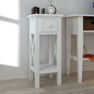 vidaXL Žurnalinis staliukas su stalčiu, baltas