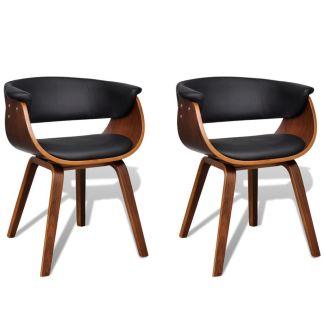 vidaXL Valgomojo kėdės, 2 vnt., medinis rėmas, dirbtinė oda