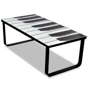 vidaXL Kavos staliukas su stikliniu pianino stalviršiu
