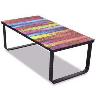 vidaXL Kavos staliukas su stikliniu vaivorykštės stalviršiu