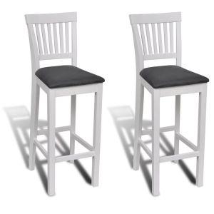 2 Baltai Dažytos Medinės Baro Kėdės