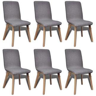 vidaXL Valgomojo kėdės, 6 vnt., š. pilkas audinys ir ąžuolo med. mas.