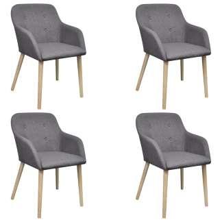 vidaXL Valgomojo kėdės, 4 vnt., šv. pilkas aud. ir ąžuolo med. mas.