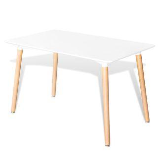vidaXL Valgomojo stalas, MDF, stačiakampio formos, baltos spalvos
