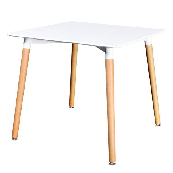 vidaXL Valgomojo stalas, MDF, kvadratinis, baltas