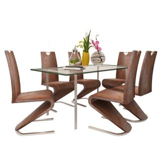 vidaXL Valgomojo kėdės, 6 vnt., U gembės formos, dirbtinė oda, rudos