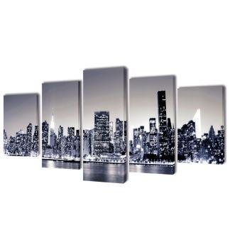 "Fotopaveikslas ""Niujorko Kontūrai, Monochromija"" ant Drobės 200×100 cm"