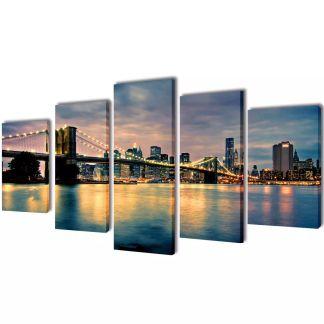 """Fotopaveikslas """"Bruklino Upė ir Tiltas"""" ant Drobės 200 x 100 cm"""