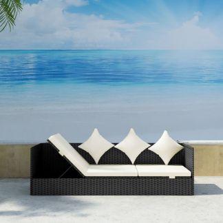 vidaXL Lauko sofa su pagalvėlėmis, poliratanas, juoda