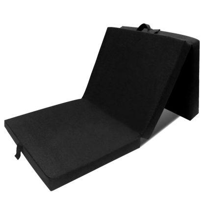 vidaXL Čiužinys, trijų dalių, putplastis, 190x70x9cm, juodas