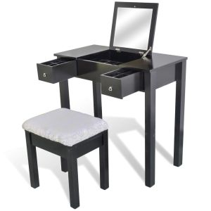 vidaXL Kosmetinis staliukas su kėdute ir 1 pakel. veidrodžiu, juodas